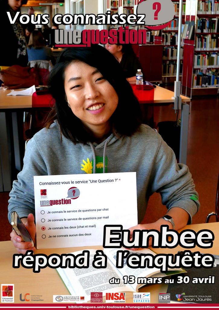 Affiche de l'enquête Une Question? - Eunbee répond à l'enquête