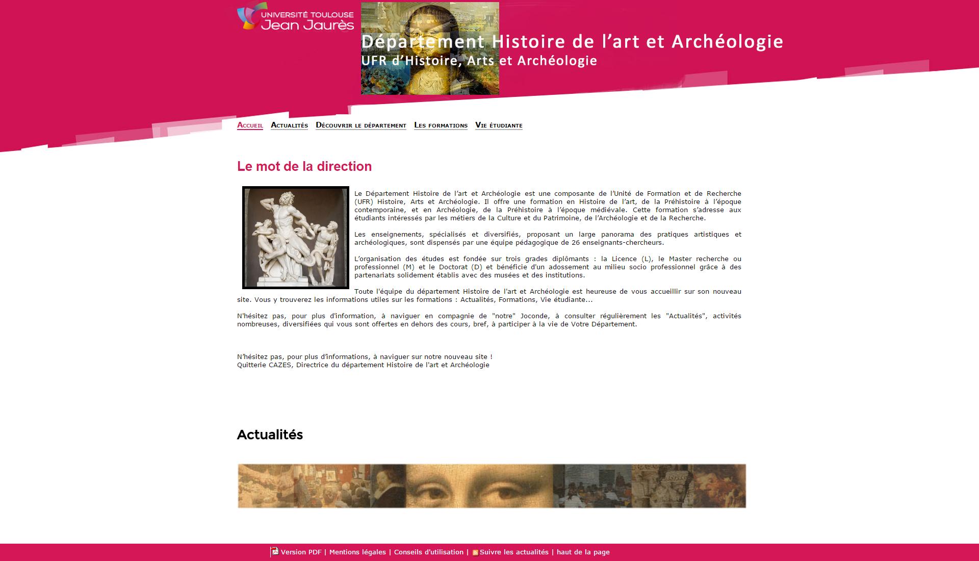 Page d'accueil du site du département Histoire de l'art et Archéologie