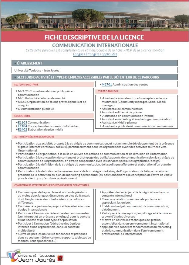 Vignette Fiche descriptive Licence Communication Internationale